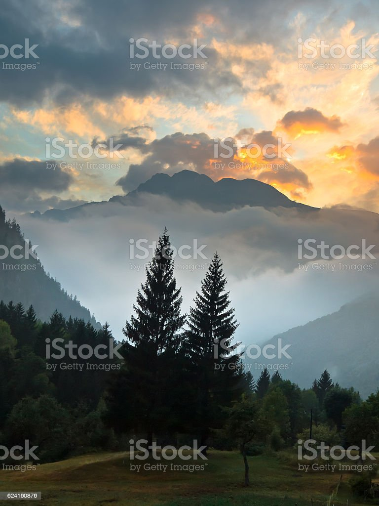 Sunrise over French Alpes stock photo