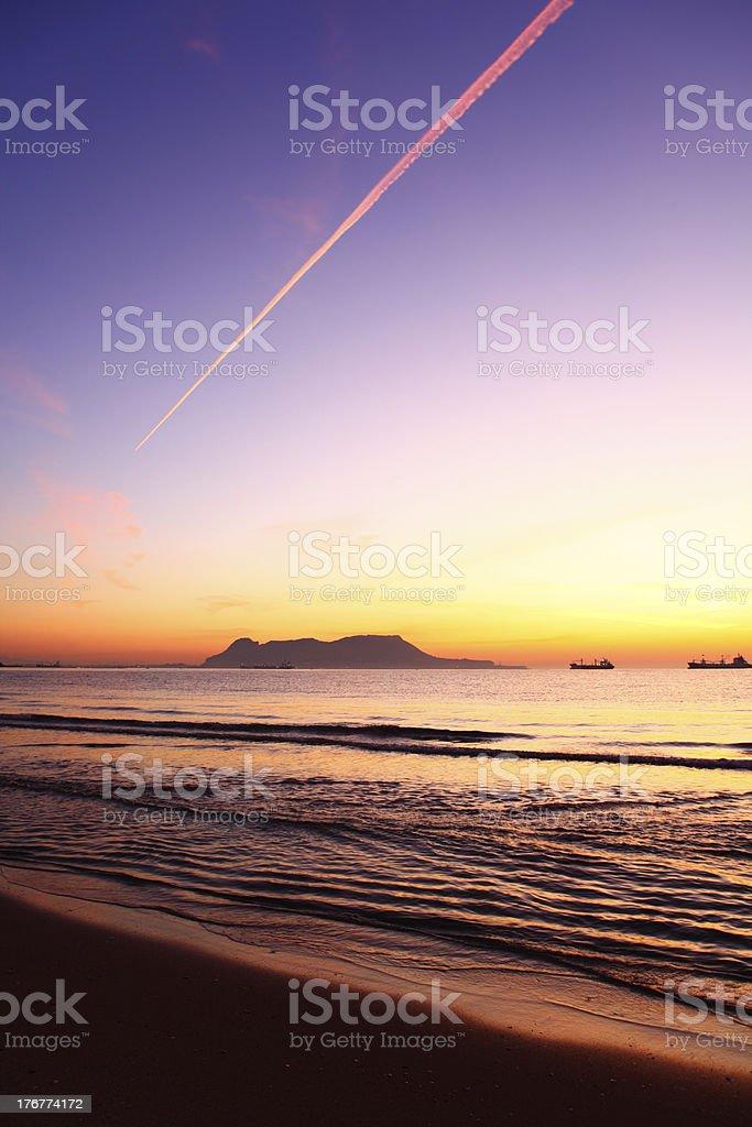 Sunrise over Gibraltar royalty-free stock photo