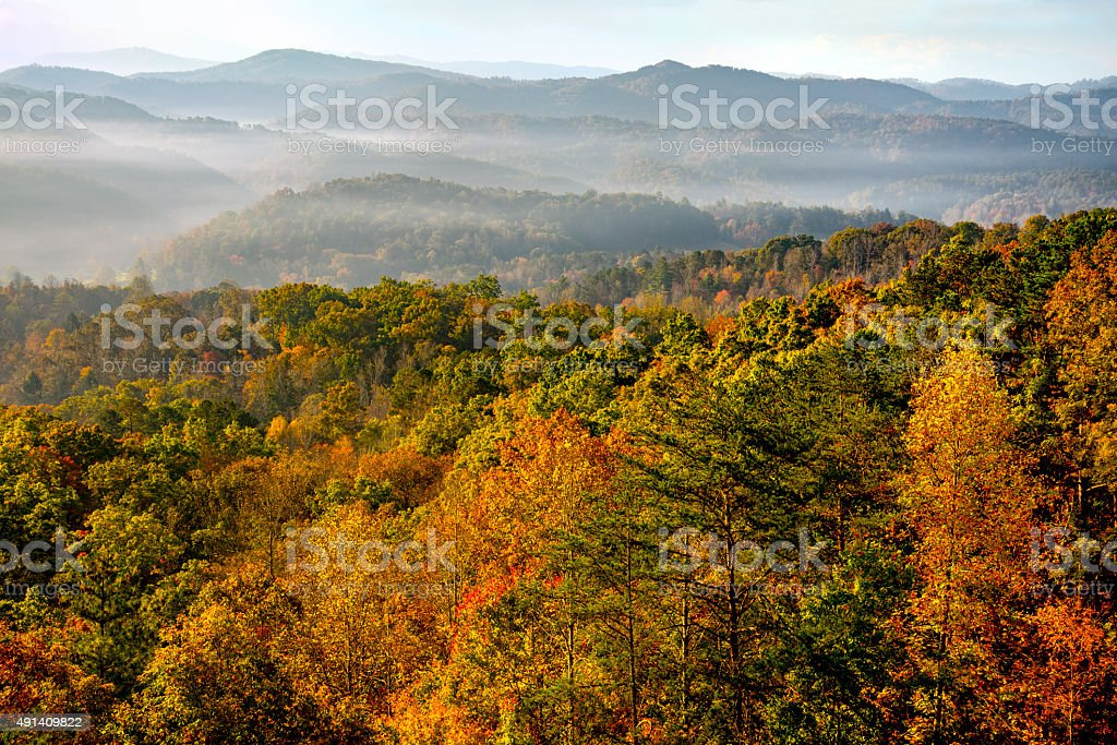 Sunrise over Great Smoky Mountains at Peak of Autumn Color stock photo