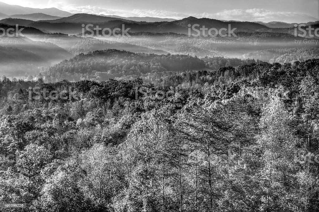 Sunrise over Great Smoky Mountains stock photo