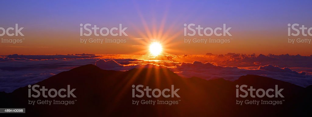 Sunrise over Haleakala National Park stock photo