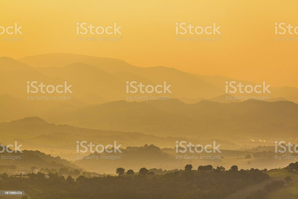 Sunrise over hill landscape royalty-free stock photo