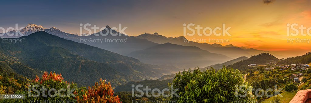 Sunrise over Himalaya mountains stock photo