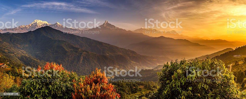 Sunrise over Himalaya mountains stock photo