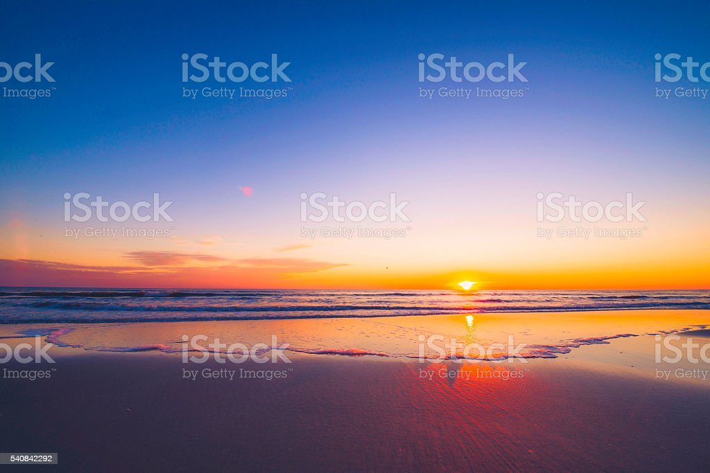Sunrise over idyllic deserted beach. Outer Banks, North Carolina, USA stock photo