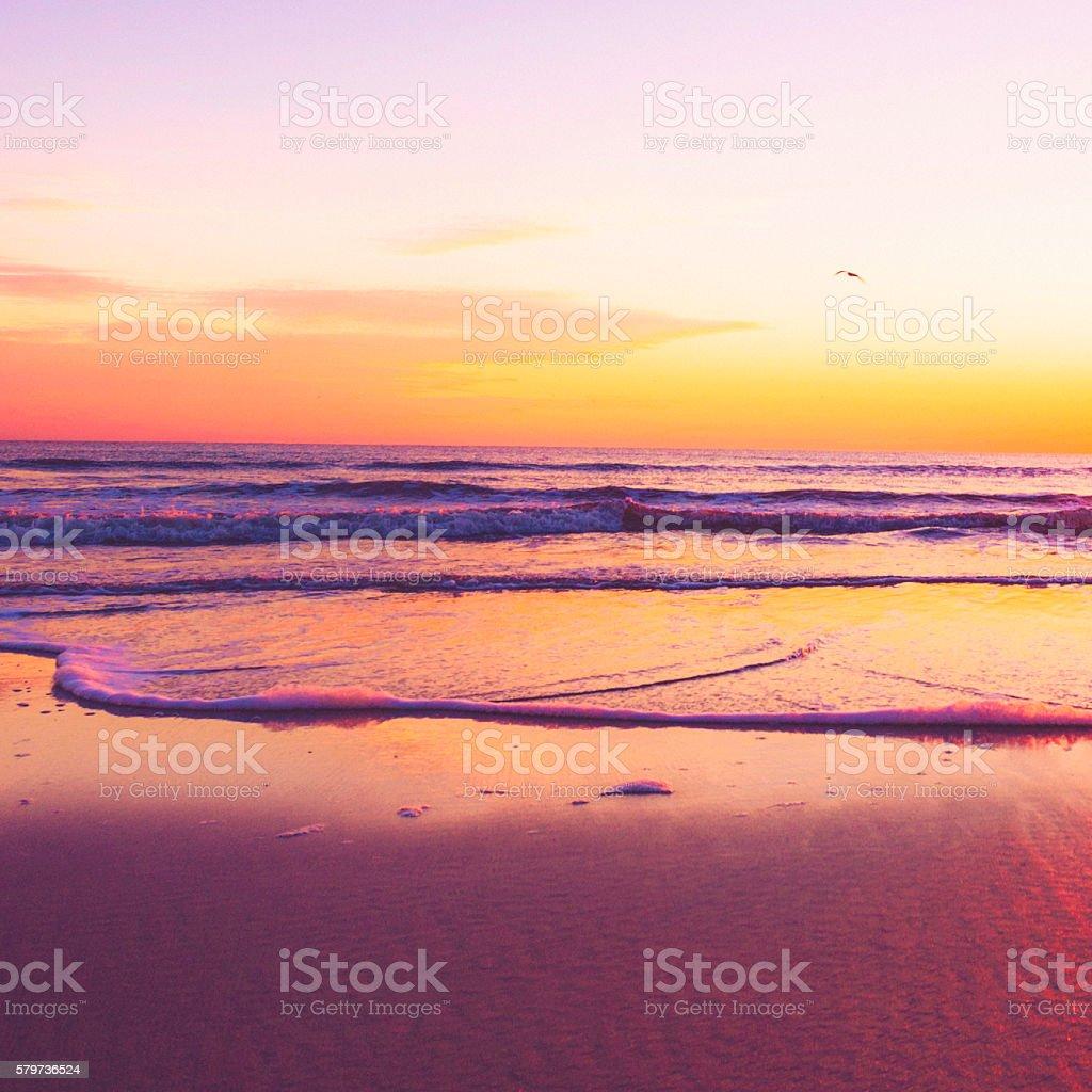 Sunrise over idyllic deserted beach. Outer Banks, North Carolina, USA stock photo