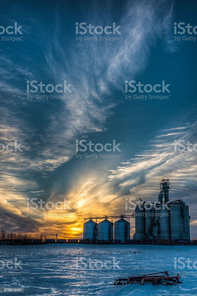 Sunrise over Industry stock photo