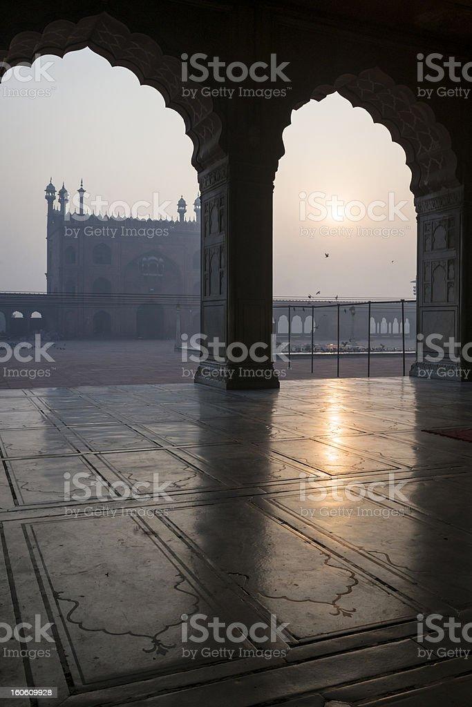 Sunrise over Jama Masjid mosque, Delhi royalty-free stock photo