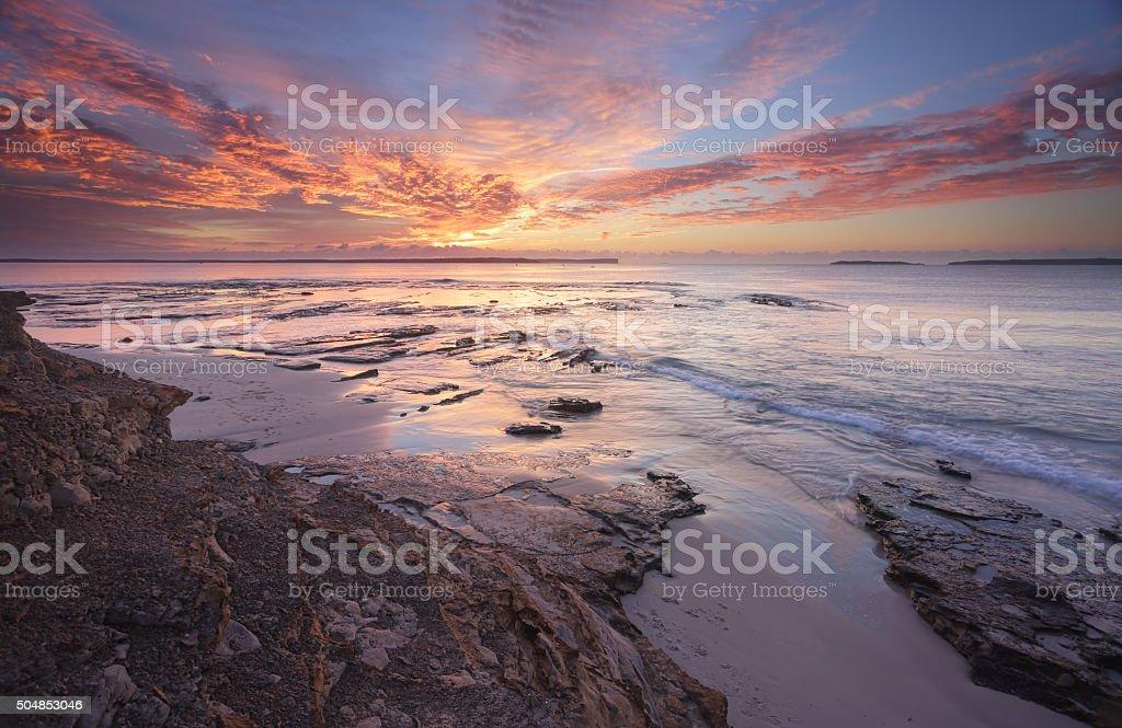 Sunrise over Jervis Bay stock photo