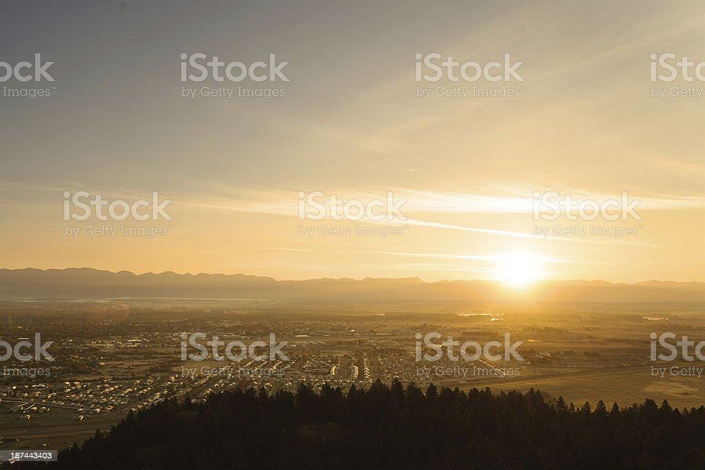 Sunrise over Kalispell Montana stock photo
