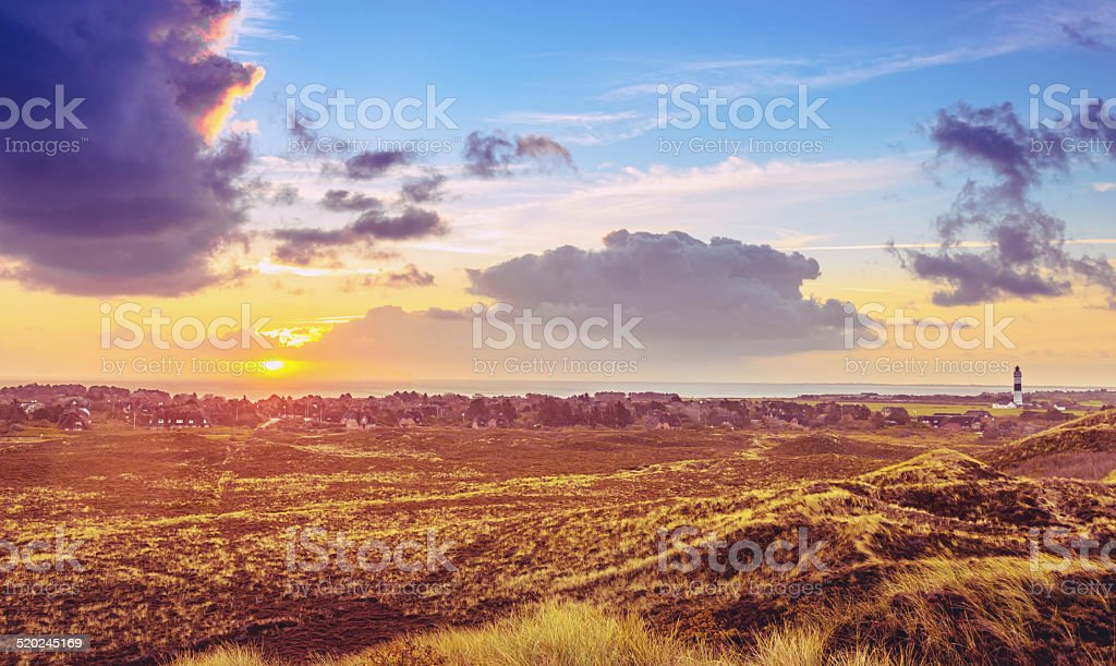 Sunrise over Kampen on Sylt stock photo