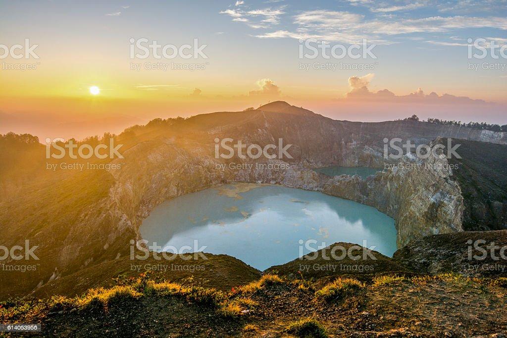 Sunrise over Kelimutu stock photo