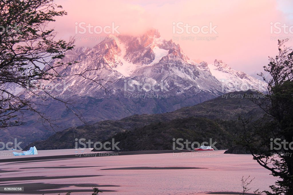 Sunrise Over Lago Grey stock photo