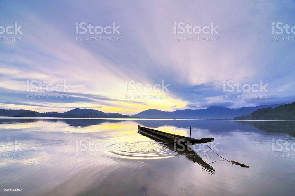 Sunrise over Lak lake, Buon Ma Thuoc city, Daklak, Vietnam stock photo