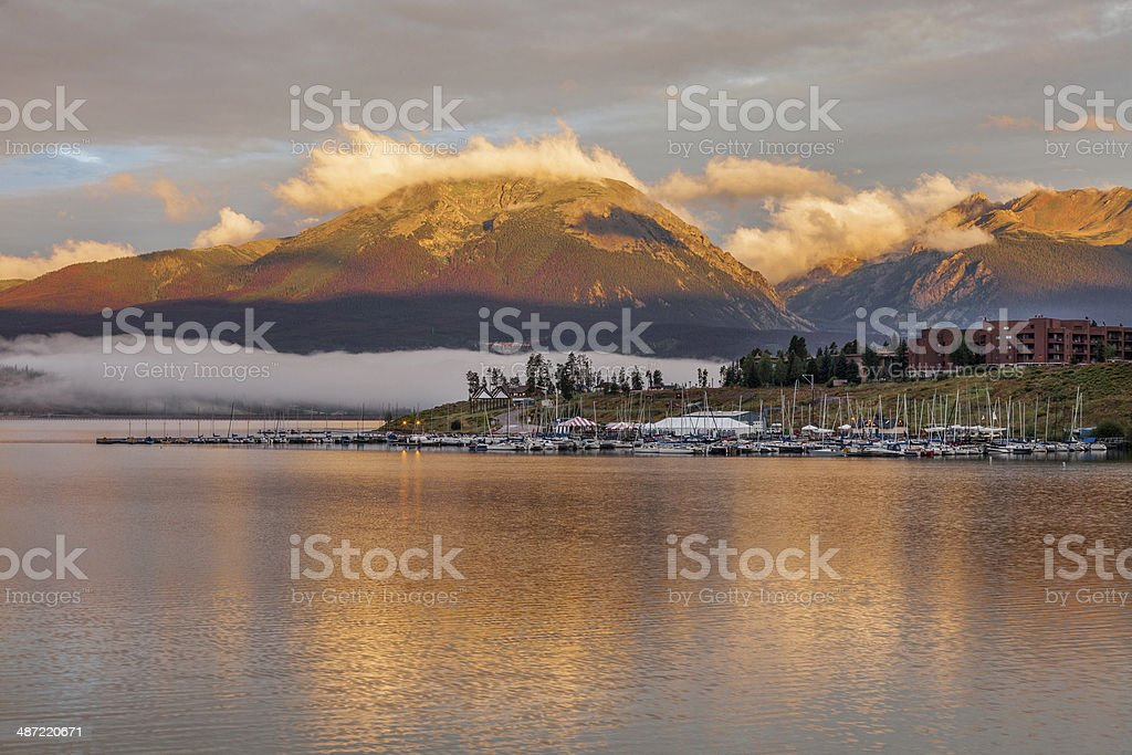 sunrise over Lake Dillon and marina stock photo