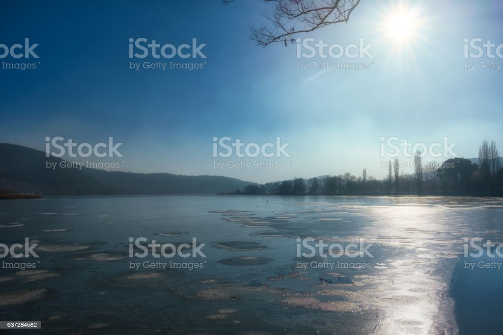 Sunrise over Lake Golcuk stock photo