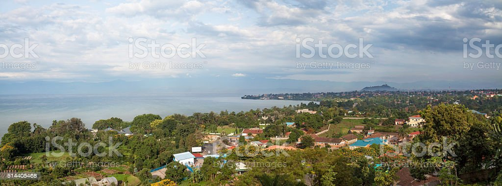 Sunrise over Lake Kivu stock photo