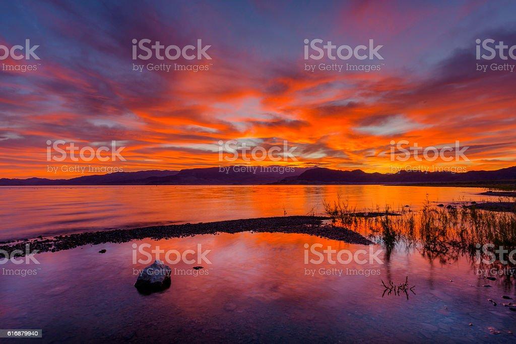 Sunrise over Lake Mead Las Vegas Nevada stock photo