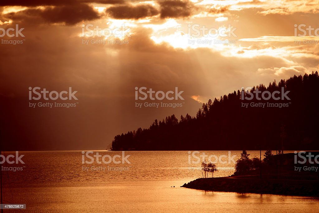 Sunrise over Lake Pend Oreille in northern Idaho stock photo