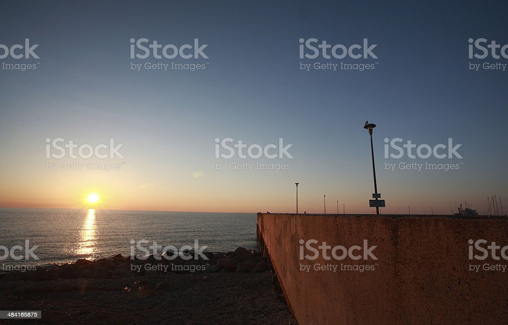 Sunrise over Lake Winnipeg stock photo
