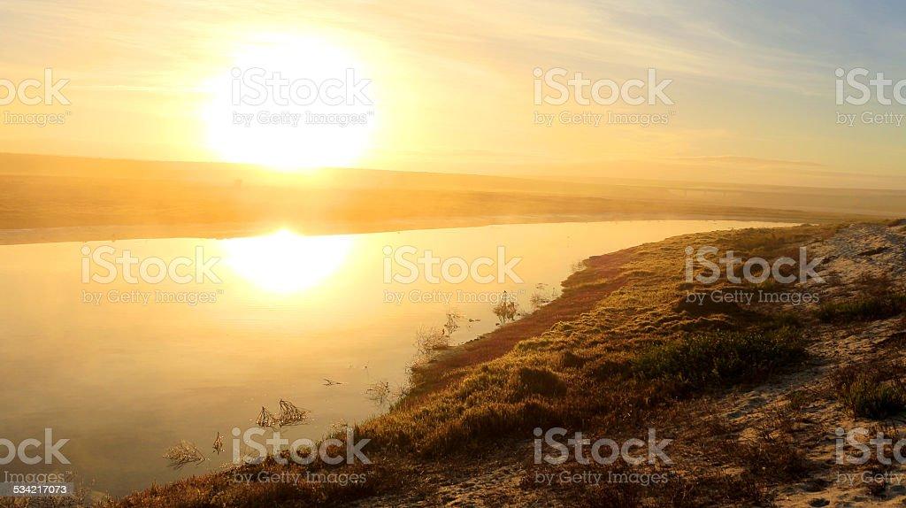 Sunrise over Lambert's Bay Jakkals River stock photo