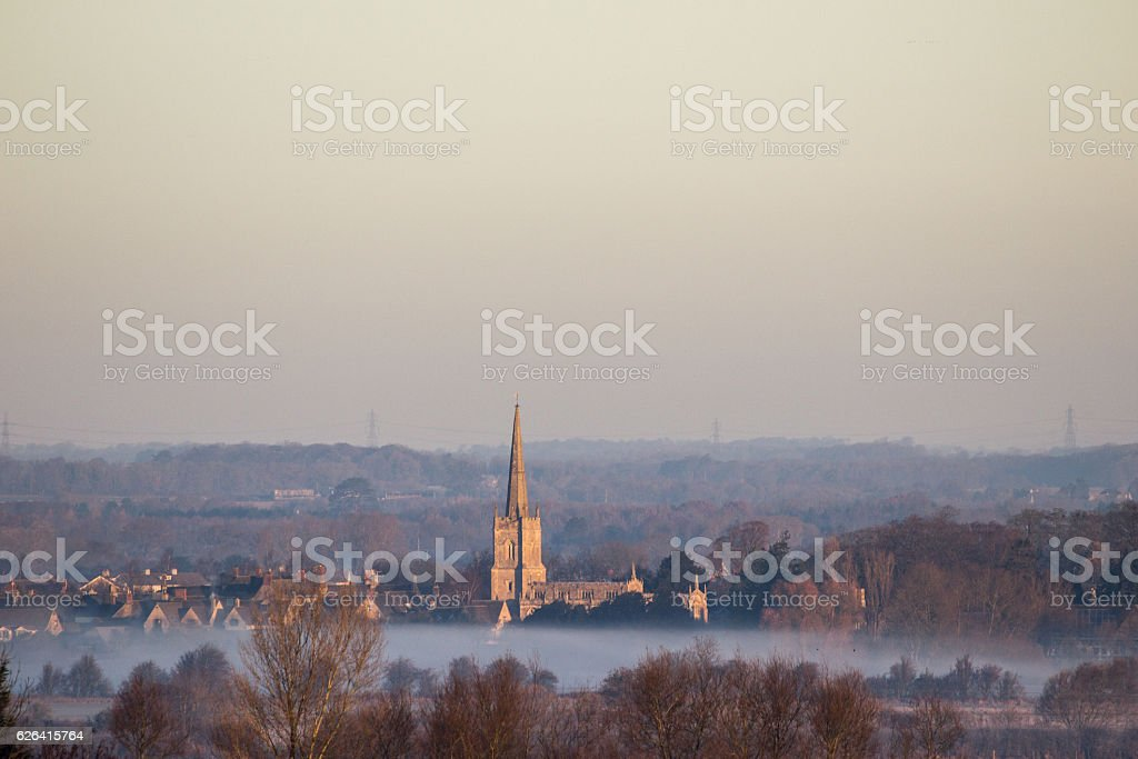 Sunrise over Lechlade Church stock photo