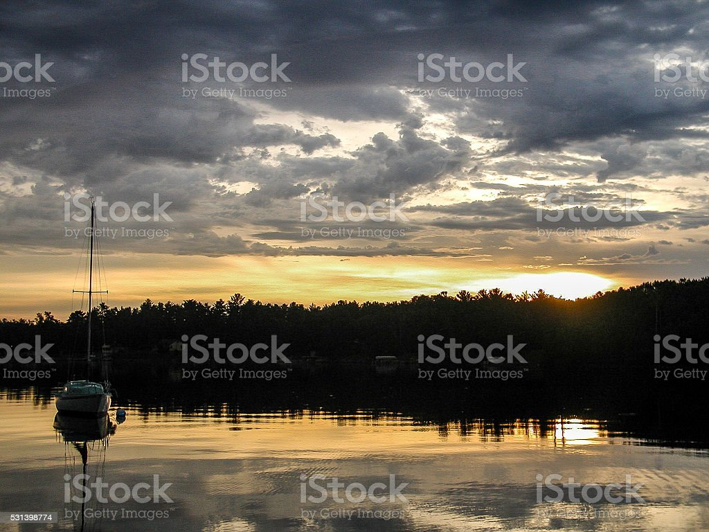 Sunrise over Leech Lake stock photo