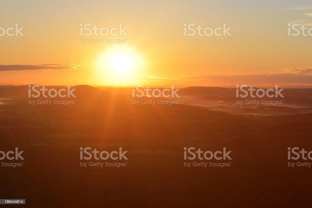 Sunrise over Lehigh Valley stock photo