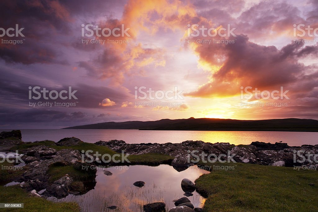 Sunrise over Loch Sligachan on the Isle of Skye royalty-free stock photo