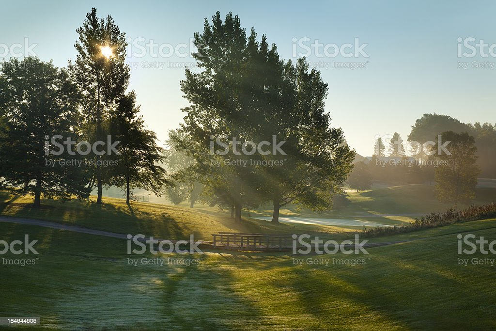 Sunrise over Lush Golf Course stock photo