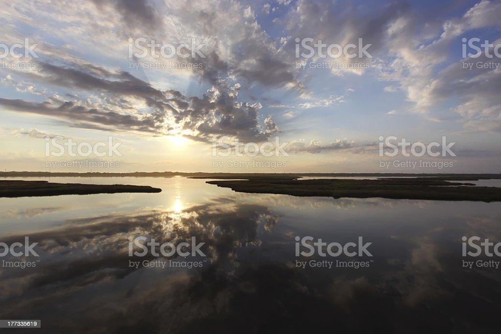 Sunrise over marshes on Bodie Island, North Carolina stock photo