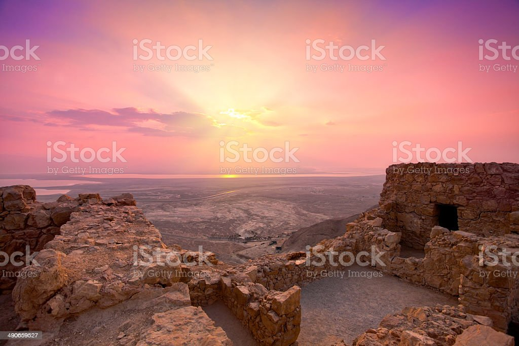 Sunrise over Masada fortress in Judaean Desert royalty-free stock photo