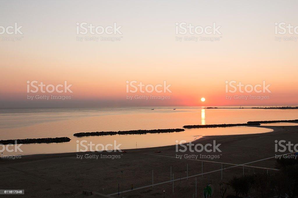 Sunrise over Mediterranean sea stock photo