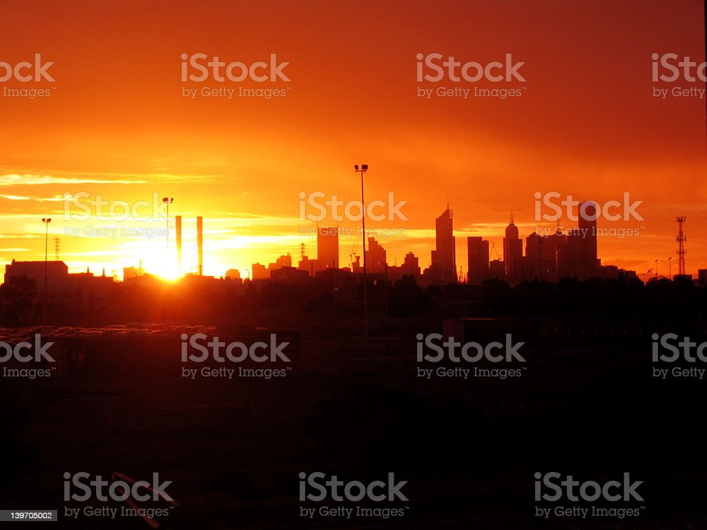 Sunrise over Melbourne Skyline stock photo