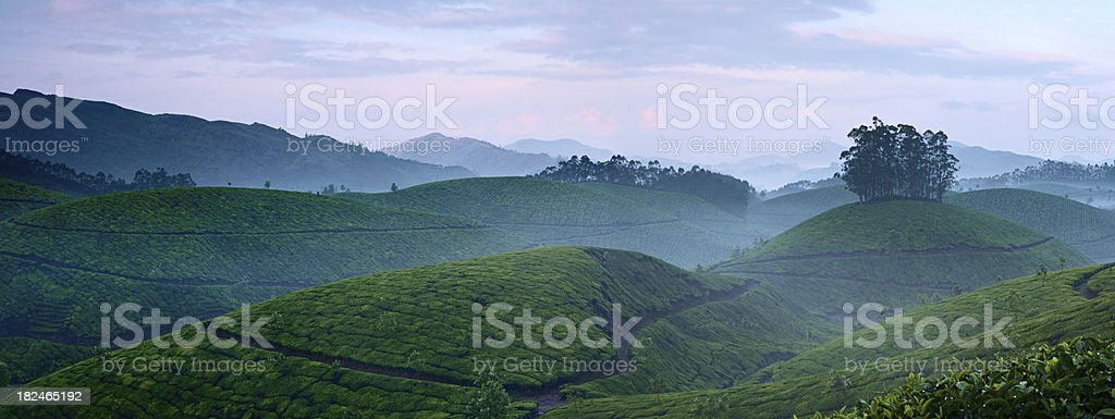 Sunrise over misty valley royalty-free stock photo