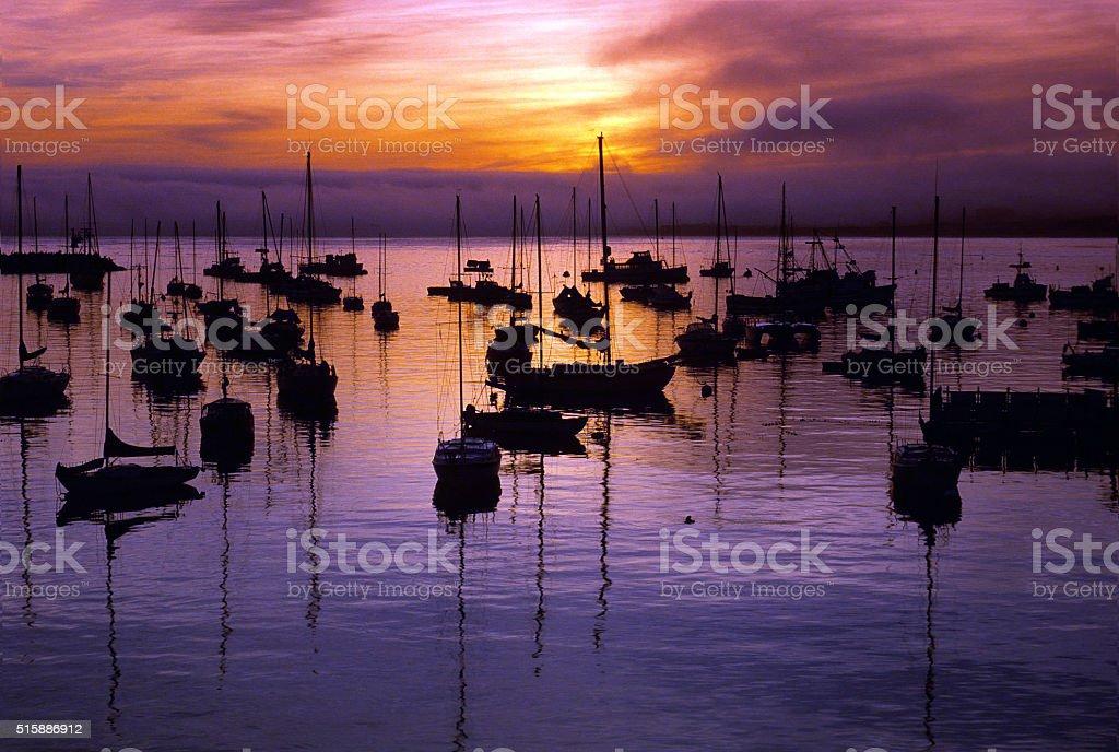 Sunrise Over Monterey Harbor stock photo