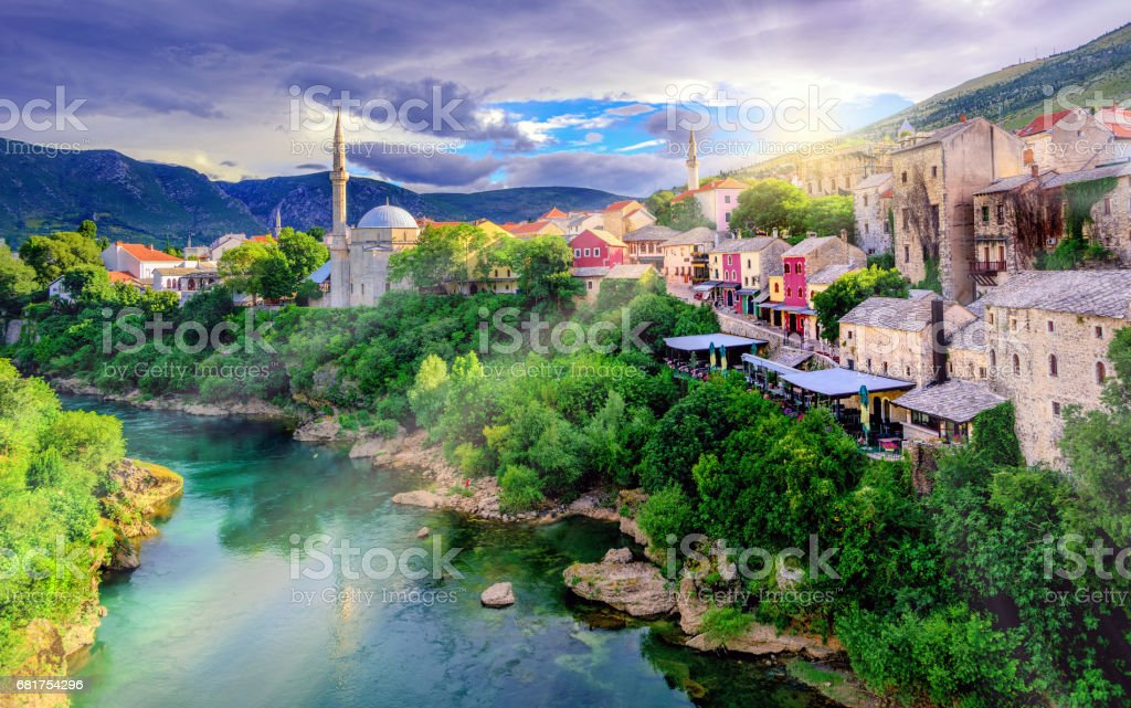 Sunrise over Mostar Old Town, Bosnia and Herzegovina stock photo