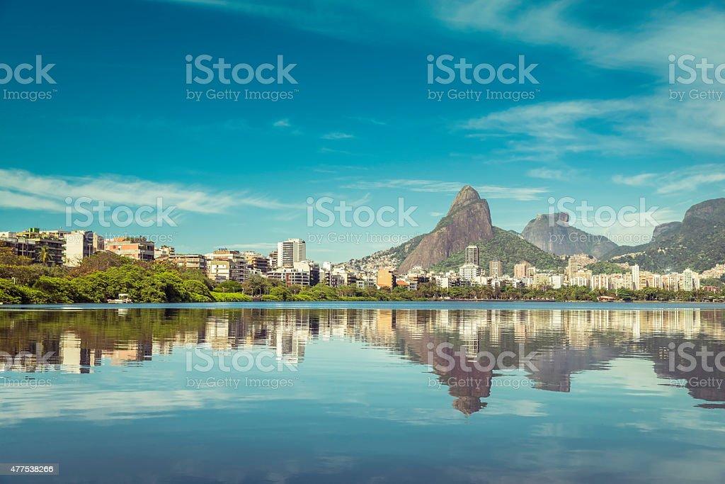 Sunrise over mountains in Rio de Janeiro, Brazil stock photo