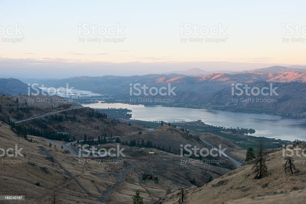 Sunrise Over Mountains Osoyoos British Columbia. royalty-free stock photo
