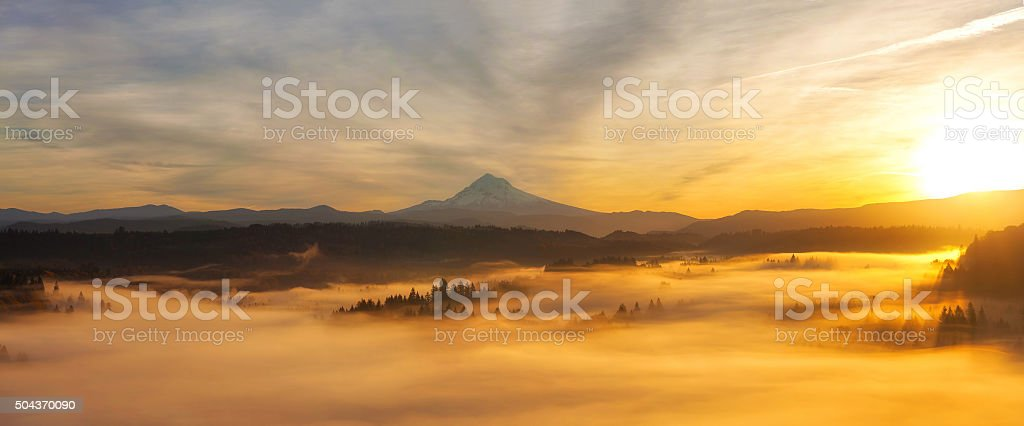 Sunrise Over Mt Hood Panorama stock photo