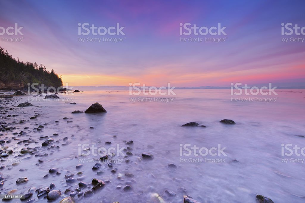 Sunrise over Mystic Beach on Vancouver Island, Canada royalty-free stock photo