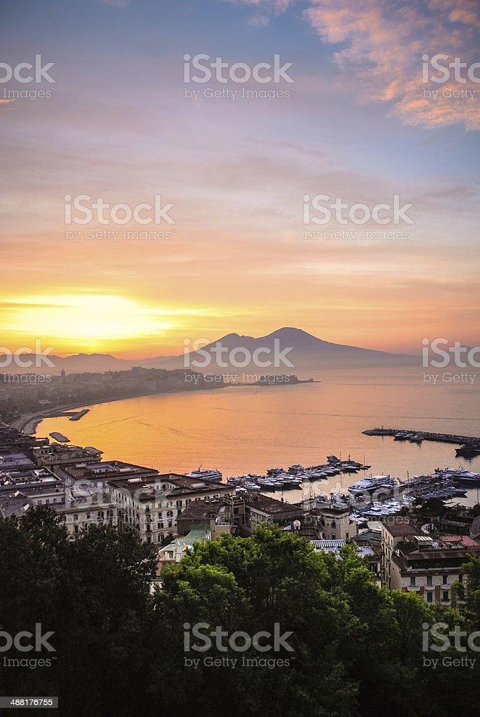 Sunrise over Naples, Italy stock photo