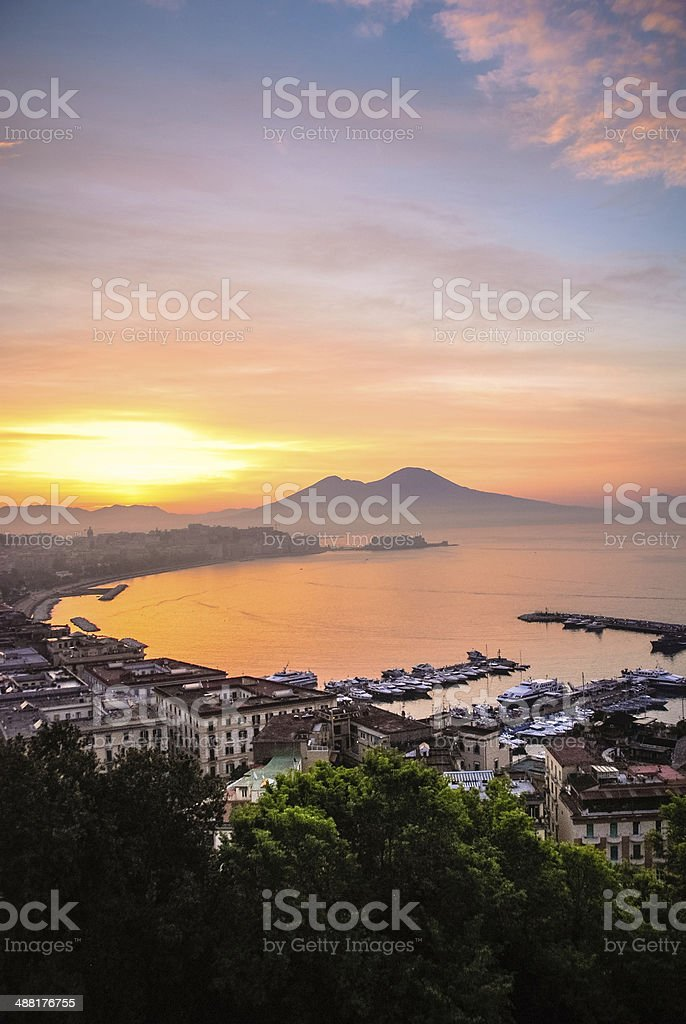 Sunrise over Naples, Italy stock photo