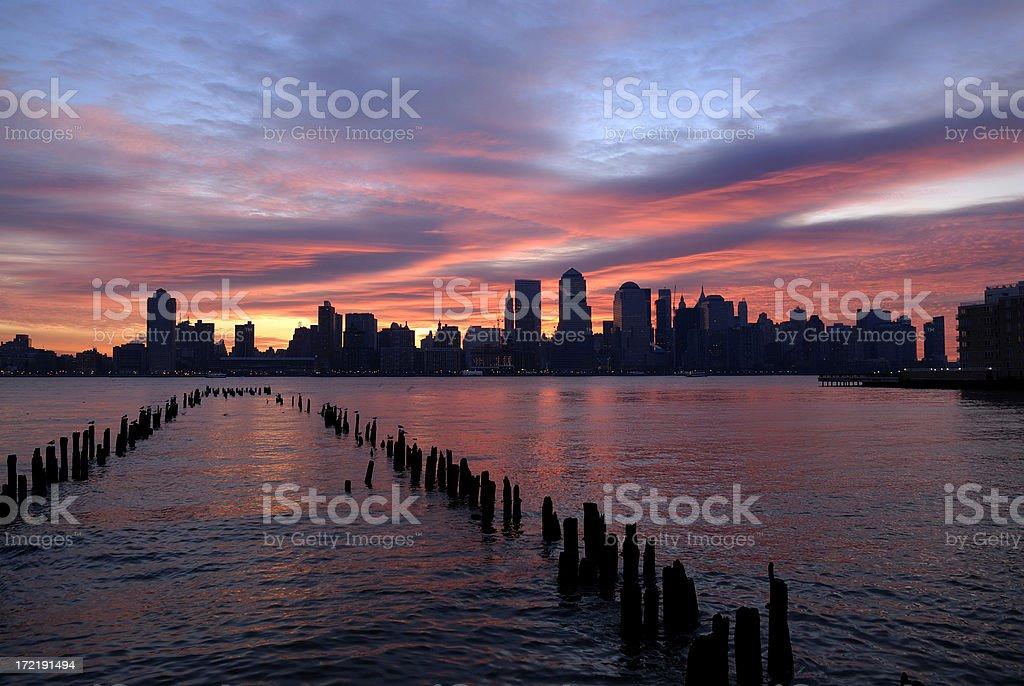 Sunrise over New York city royalty-free stock photo