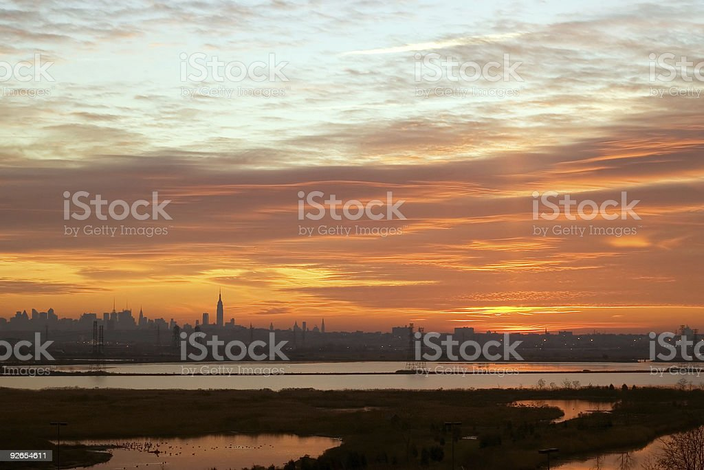 Sunrise over NYC and the Meadowlands royalty-free stock photo