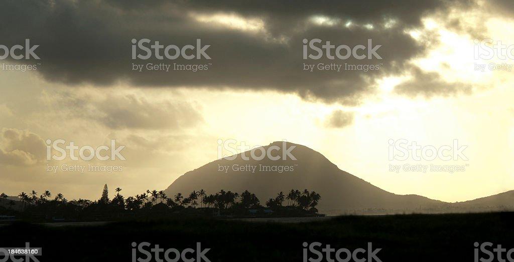 Sunrise Over Oahu stock photo