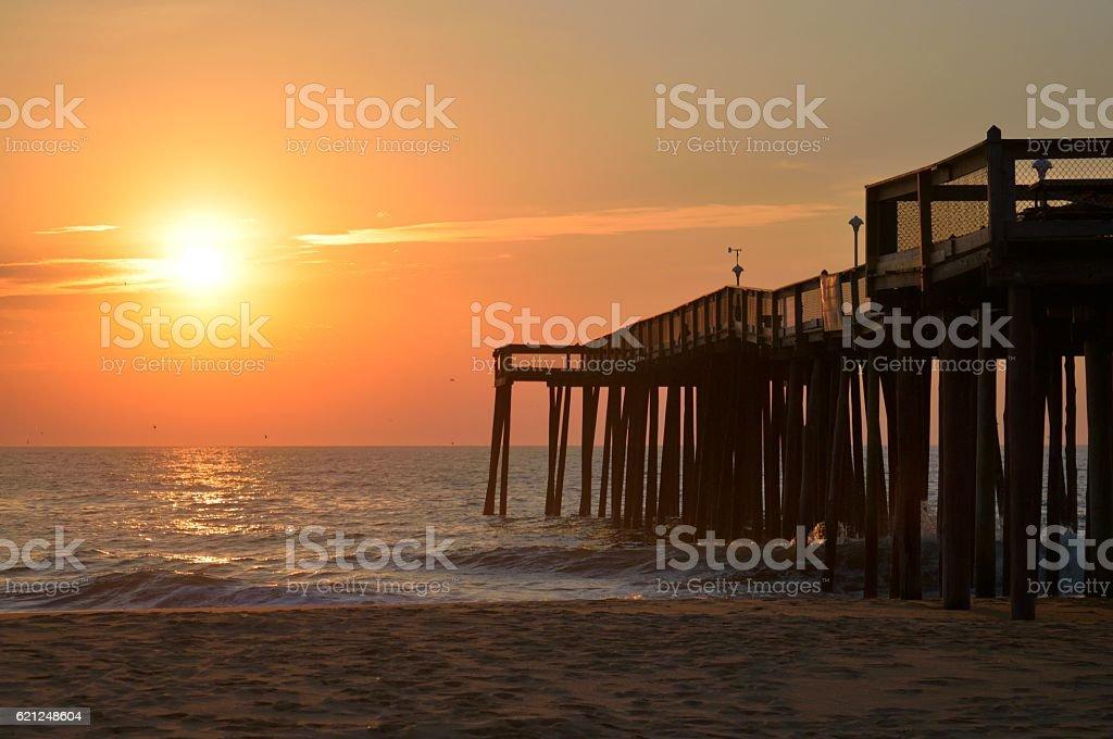 Sunrise Over Ocean City Fishing Pier stock photo