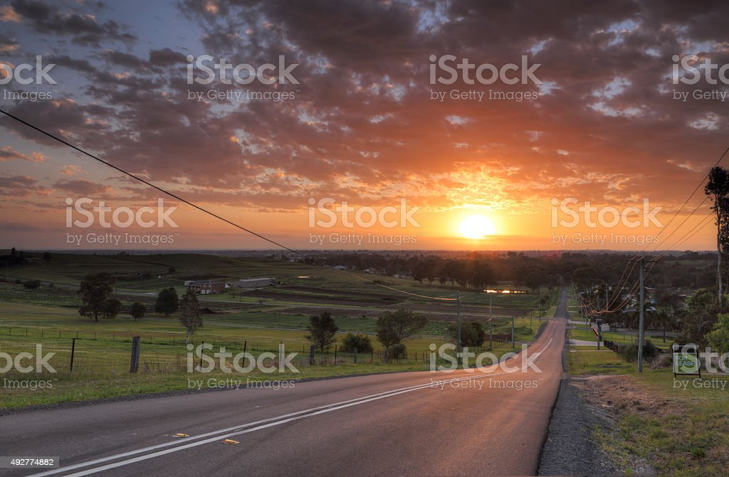 Sunrise over Orchard Hills Penrith stock photo