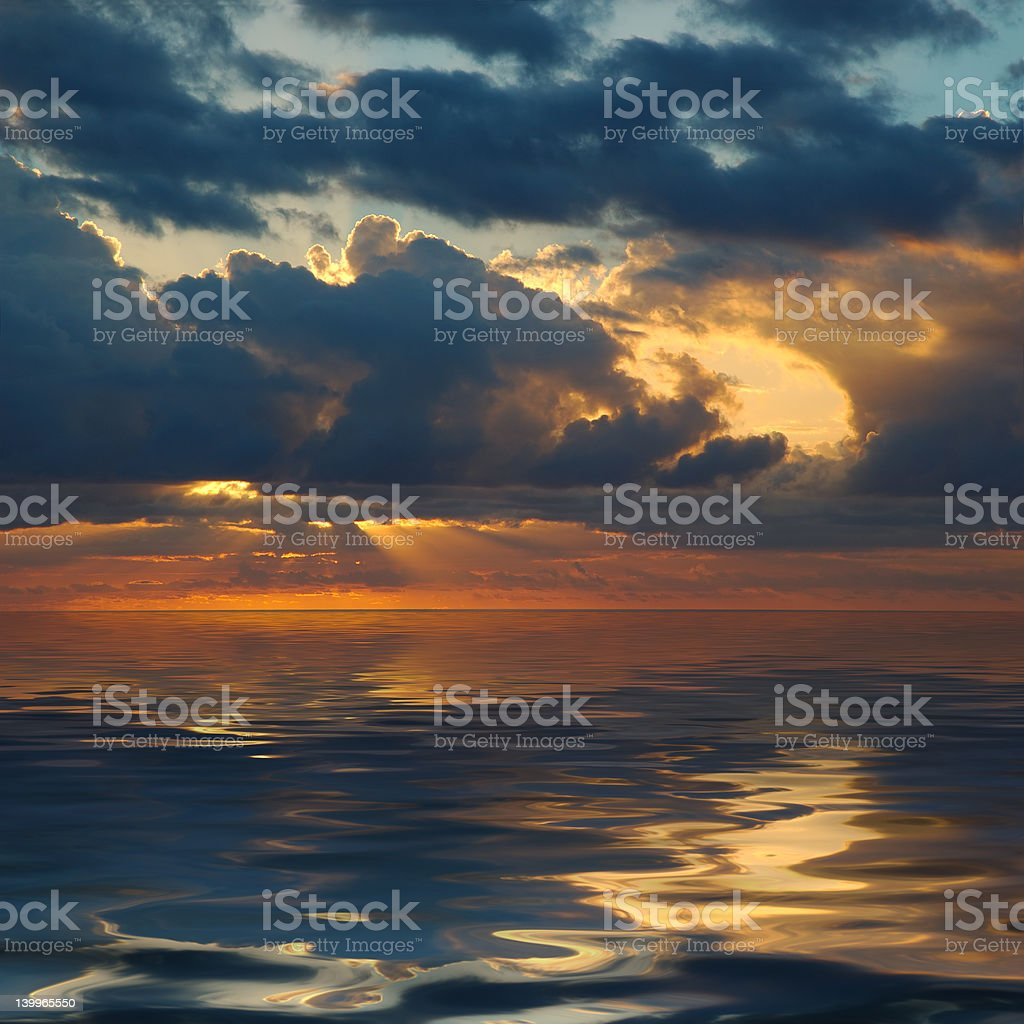 Sunrise Over Pacific Ocean royalty-free stock photo