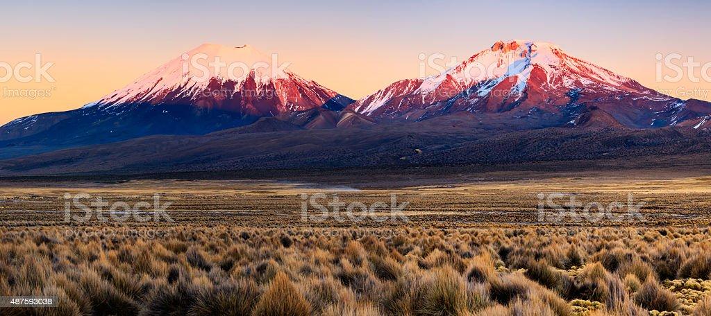 Sunrise over Parinacota Volcano in Sajama National Park, Bolivia stock photo